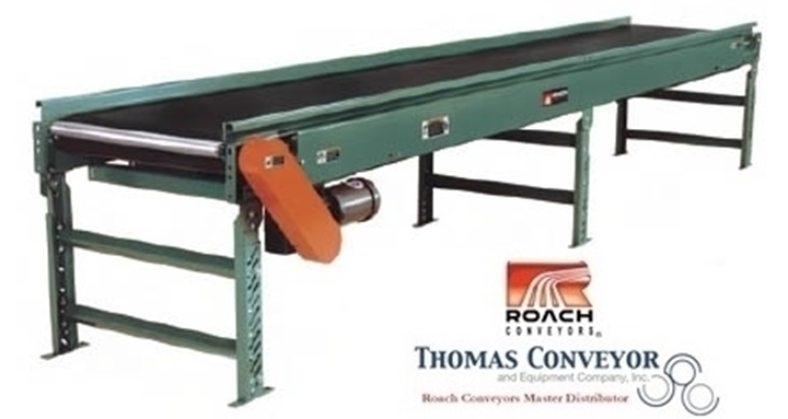 Trough Bed Belt Conveyor Roach Model 725TB is used in the trash and recycling industry.
