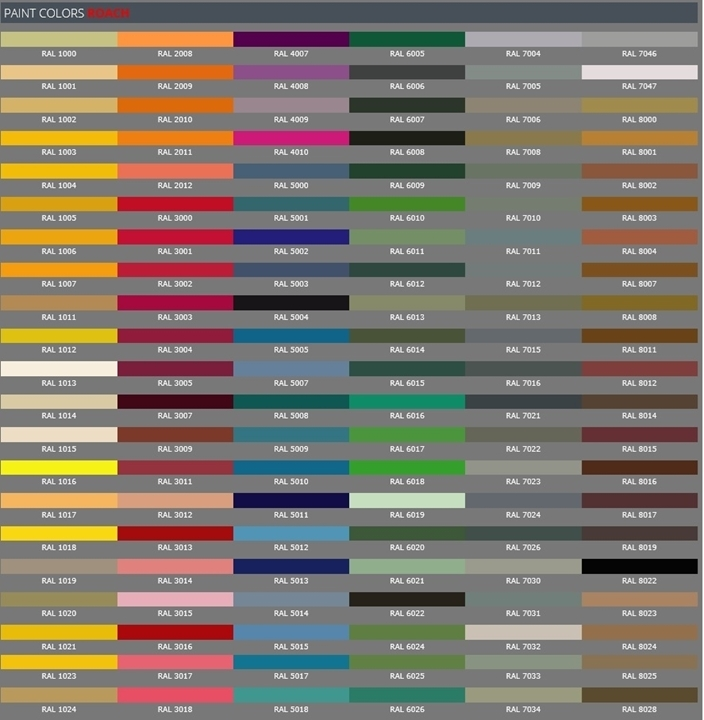 Roach Paint Color RAL Chart