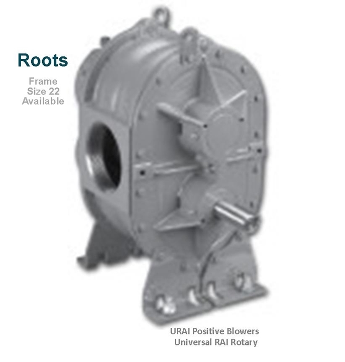 Roots URAI Universal RAI Rotary Positive Blowers Frame Size 22 is a key component in pneumatic conveying dry bulk powder handling systems