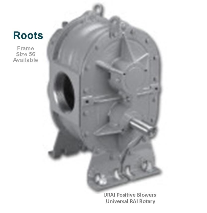Roots URAI Universal RAI Rotary Positive Blowers Frame Size 56 is a key component in pneumatic conveying dry bulk powder handling systems