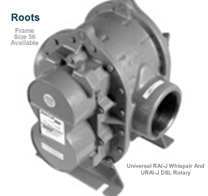 roots universal RAI-J whispair rotary positive blower model frame size 56 is a key component in pneumatic conveying dry bulk powder handling systems