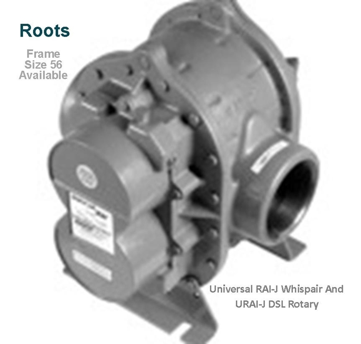 Roots URAI-J-DSL Whispair Dual Splash Lubrication Rotary Positive Blowers model frame size 56  is a key component in pneumatic conveying dry bulk powder handling systems
