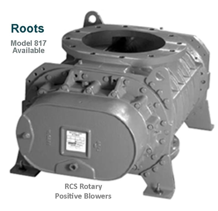 Roots RCS Rotary Positive Blowers Model 817 is a key component in pneumatic conveying dry bulk powder handling systems