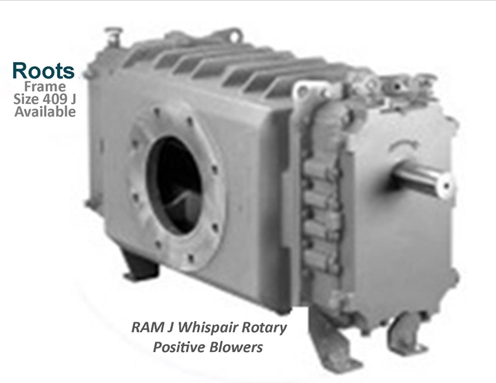 Roots Ram J Whispair Rotary Positive Blowers Frame Size 409 J is a key component in pneumatic conveying dry bulk powder handling systems