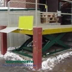 Loading Dock Lifts Southworth eliminate the danger and space requirements associated with a ramp and they improve safety by eliminating manual handling of freight from the truck bed height to the ground