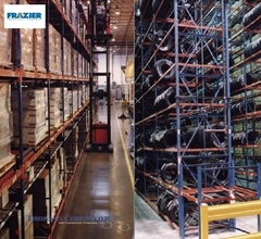 Pallet Rack Systems  have horizontal beams attached to vertical upright frames, creating industrial shelving to support pallets of material that can be accessed by forklifts