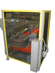 The Case Lift and Rotate unit positions product for discharge onto MDR conveyor.