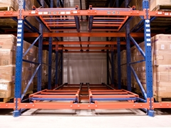Frazier Push Back Storage Racks are a LIFO storage system, normally composed of an inclined rail section that extends the full depth of the storage lane