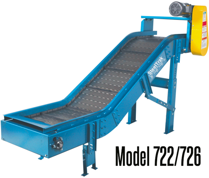 New London Engineering Model 722 & 726 Light Duty Chip Conveyor provides a virtually maintenance-free way to move and elevate ferrous materials such as chips, turnings, small parts and stampings.