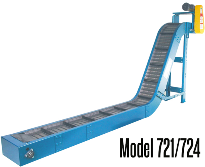 New London Engineering Model 721/724 Standard Duty Scrap Conveyor is the most versatile of conveyors, it can be used to handle nearly every kind of part and all types of scrap.