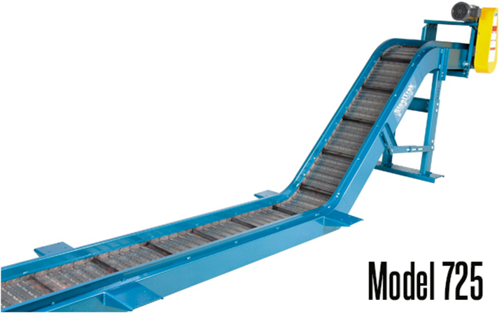New London Engineering Model 725 SteelTrak™ Hinged Steel Belt Conveyor is ideal for conveying Dirty and oily metal chips, parts, jagged or abrasive scrap