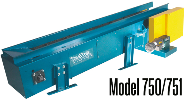New London Engineering Model 750/751 SteelTrak™ Hinged Steel Belt Conveyor is heavy duty and can be used in the forging and foundry industries or with any application using a heavy load