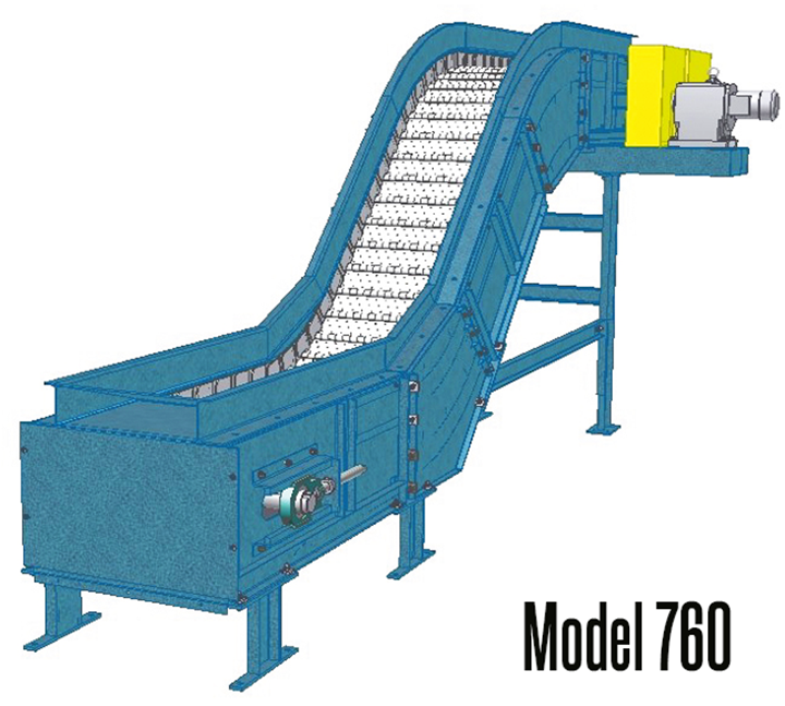 New London Engineering Model 760 SteelTrak™ 6″ Pitch Hinged Steel Belt Conveyor is excellent for carrying die castings, stampings, forgings, steel scrap, metal parts as well as conveying oily parts from punch presses & forging machines to drums or hoppers