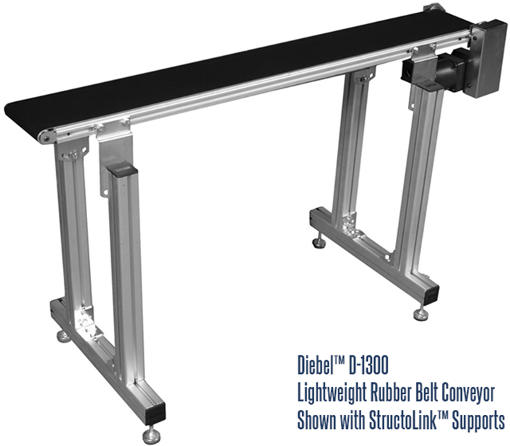 D-1300 Conveyor with StructoLink™ Support Legs for Diebel Aluminum Frame Rubber Belt Conveyors