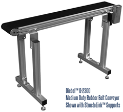 D-2300 Conveyor with StructoLink™ Support Legs for Diebel Aluminum Frame Rubber Belt Conveyors