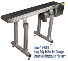 D-3300 Conveyor with StructoLink™ Support Legs for Diebel Aluminum Frame Rubber Belt Conveyors