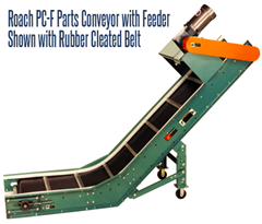Roach Model PC-F Parts Conveyor With Feeder features a horizontal feeder section which may be stationed underneath machinery to accept parts, chips, slugs or scrap. The Model PC-F then transports such materials into hoppers, storage bins or other containers for storage, disposal or recycling
