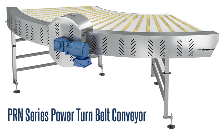 PRN Series Power Turn Belt Conveyor is a curved conveyor designed specifically for light weight operations