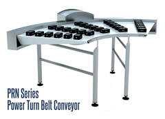 PRN Series Power Turn Belt Conveyor ideal for small item transfer from straight conveyors to belt curves