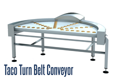 The TACO Turn Belt Conveyor is a 180° curved conveyor which allows for incoming and outgoing straight conveyor connections side by side to conserve floor space