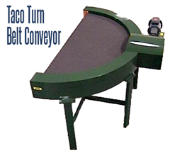 TACO Turn Belt Conveyor is a 180° curved conveyor available in both rubber and plastic belt configurations.