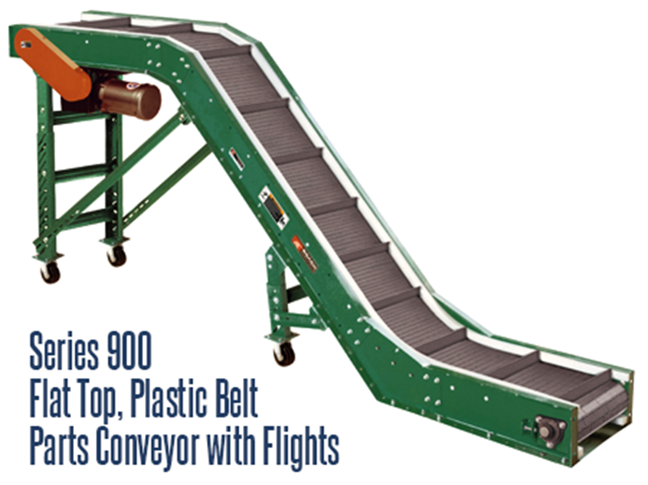 Series 900 Flat Top, Plastic Belt Parts Conveyor With Flights (Roach Model PPF) is a small parts conveyor that is perfect for the food industry, clean rooms, and the pharmaceutical industry
