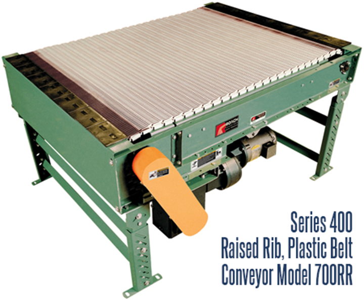 Series 400 Raised Rib Plastic Belt Conveyor Roach Model 700RR is designed for transporting, accumulating and transferring cans, bottles or other small items that are normally difficult to transfer