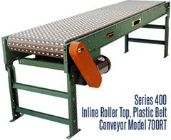 The Series 400 Inline Roller Top Plastic Belt Conveyor Roach Model 700RT is ideal for applications requiring transportation and temporary accumulation