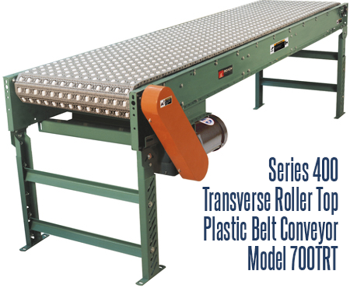 Series 400 Transverse Roller Top Plastic Belt Conveyor Roach Model 700TRT is ideal for applications requiring 90° product transfer on or off, product centering or carton rotation