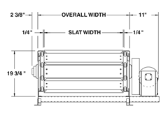 Roach Model 608SL Heavy Duty Slat Conveyor Top View Schematic