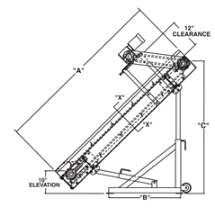 Roach Model PC Parts Handling Conveyors Side View Schematic