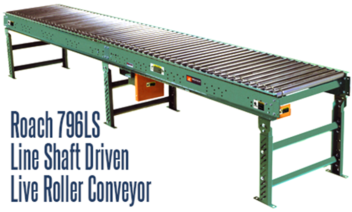 Roach's Line Shaft Driven Live Roller Conveyor Model 796LS are an optimum solution for conveyance of light loads at speeds of 25-120 FPM. They are designed for flat-bottomed, evenly distributed loads, such as those found in distribution, manufacturing, warehousing, food packaging and parcel handling. Clean, dry, oil free environments are the ideal conditions to maximize line shaft roller performance
