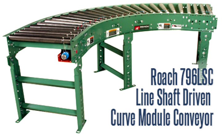 Model 796LSC Line Shaft Driven Curve Module Conveyor is an optimum solution for conveyance of light (up to 15lbs/roller) loads, at speeds of 25-120 FPM. They are designed for flat-bottomed, evenly distributed loads.