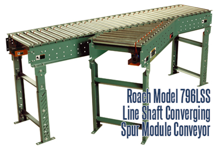 The Roach Model 796LSS Line Shaft Converging Spur Module combines multiple lanes of product into a single lane. These conveyors can handle large boxes through small packaged products.
