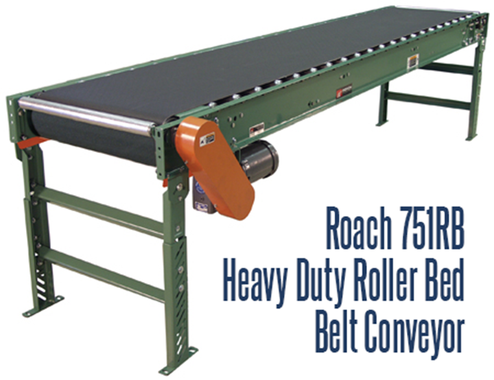 Roach 751RB Heavy Duty Roller Bed Belt Conveyor conveyors heavy duty unit or case loads
