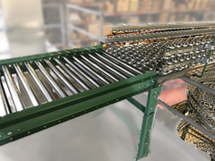 Close Up of Load Area on a Roach Vertical Gravity Skatewheel Conveyor