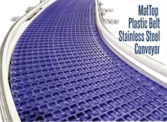 MatTop Stainless Steel Conveyor can be used in food processing applications and range from purveying of meat, processing of vegetables, and food assembly lines for pizzas, sandwiches and prepared meals.
