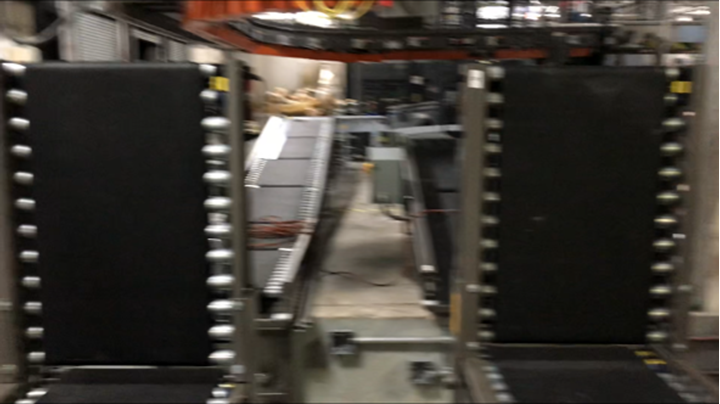 These Motorized Driven Roller (MDR) Gates are shown in the up position; there are limit switches on the conveyor which stops the zone from running. Products will accumulate behind the lift gate until the gate is lowered into the down position.