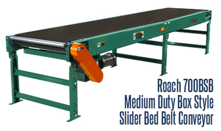 The Medium Duty Box Style Slider Bed Belt Conveyor (Roach Model 700BSB) is ideal for workers stationed beside the conveyor.