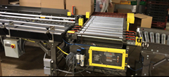 This is a 90° transfer conveyor which is driven via Motorized Driven Roller (MDR) Drive Cards and 24 volt driven rollers