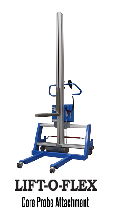 The LIFT-O-FLEX Core Probe is used to handle rolls from horizontal pickup to horizontal drop off.