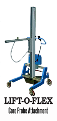 LIFT-O-FLEX™ Core Probe can pick up rolls from either pallets or floors. After pickup, rolls can be raised or lowered to the proper height for drop off.