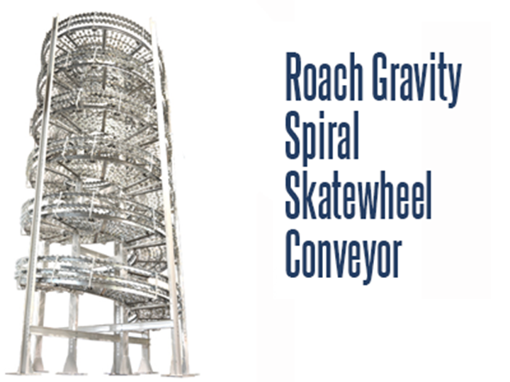 The Roach Vertical Gravity Skatewheel Conveyor is a space saving vertical conveyor. One of the many benefits of spiral inclines or decline conveyors are pick module merging and accumulation.