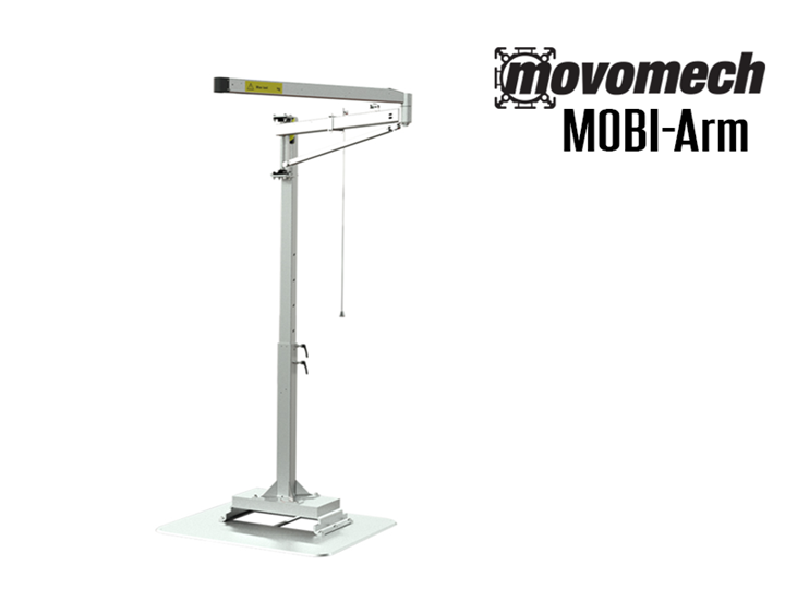 The Movomech™ MOBI-Arm™  is a mobile articulating arm crane that has a wide variety of end effectors/tooling options.  It has a reach of up to 13' and a height adjustable floor pillar.