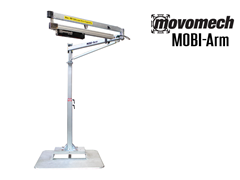 The Movomech™ MOBI-Arm's mobility is achieved through the use of a pallet jack which allows for efficient placement of the lifting system.