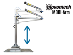 The Movomech™ MOBI-Arm's adjustable tower can easily be adjusted to the desired height, which is an advantage at workstations where the equipment needs to be adapted to different handling operations.