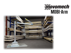 Movomech™ MOBI-Arm's™ air feed is integrated into the lifting arm and allows air feed to a customized pneumatic handling tool. The MOBI-Arm™ is electrically galvanized and maintenance-free and a variety of pneumatic configurations can be offered.