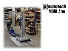 Movomech™ MOBI-Arm's™ mobility is achieved through the use of a pallet jack, allowing for efficient placement of the lifter.