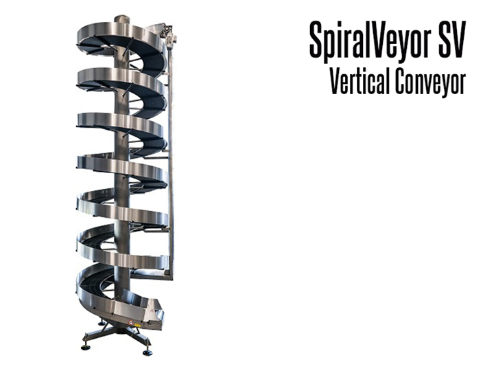 The SpiralVeyor SV is a vertical conveyor for medium to large sized items.  Ideal for handling packaged products and cases; it can be used for both elevation and accumulation conveying.