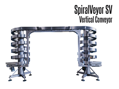 The SpiralVeyor SV Series Vertical Conveyor utilizes a lateral roller system patented by AmbaFlex™ which eliminates controls and sensors.